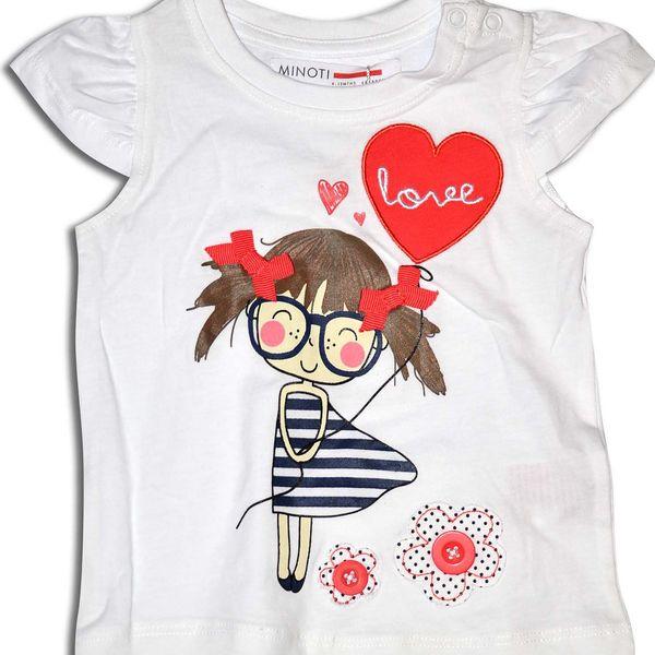 Minoti Dívčí tričko s holčičkou Coral - bílé
