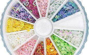 Sada ozdob nejen na nehty - mix 12 tvarů a barev
