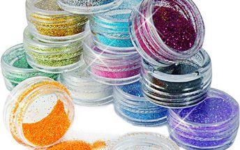 12 barev třpytivého prášku na nehty