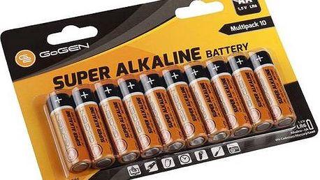Baterie alkalická GoGEN SUPER ALKALINE AA, LR06, blistr 10 ks (GOGR06ALKALINE10) černá/oranžová