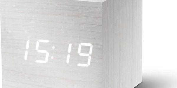 Bílý LED budík Gingko Cube Click Clock, bílý