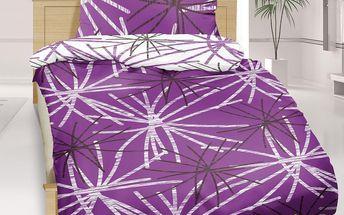 Bellatex bavlněné povlečení Hvězda fialová, 140 x 200 cm, 70 x 90 cm