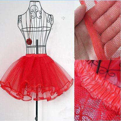 Bohatá tylová sukně - červená - dodání do 2 dnů