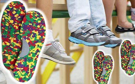Dětské stélkydo bot od českého výrobce, poštovné zdarma. Stélky pro děti s mírnou podporou podélné klenby. Ze zdravotně nezávadného materiálu Evac, velikosti 23-35, malý dárek k tomu - dětská vodolepka do vany.