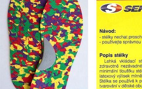Dětské stélky do bot s mírnou podporou podélné klenby. Velikosti 23-35 a malý dárek - vodolepka.