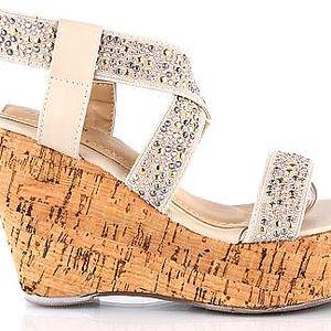 Béžové korkové sandálky