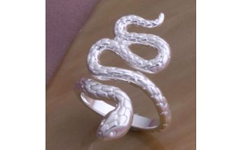 Prstýnek ve tvaru hada - stříbrná barva