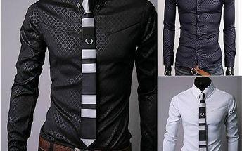 Pánská košile s decentním vzorem - 3 barvy