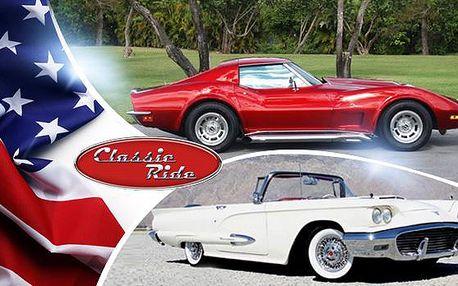 15 či 30 min. za volantem sporťáku Corvette Stingray 1973 nebo kabrioletu Ford Thunderbird 1959.