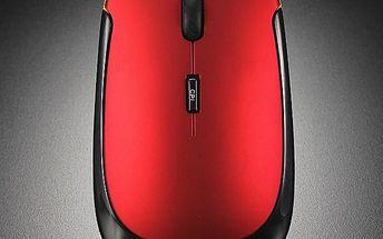 Ultratenká bezdrátová optická myš - červená barva - dodání do 2 dnů