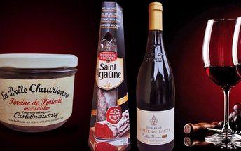 Sada lahodných francouzských delikates vč. vína