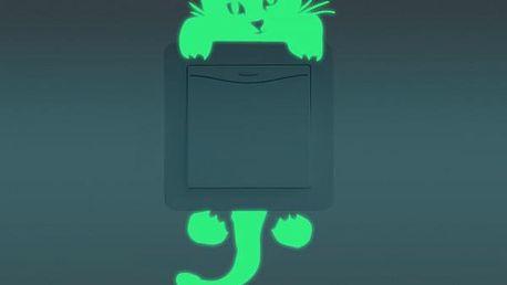 Svítící samolepka na vypínače - kočka - skladovka - poštovné zdarma
