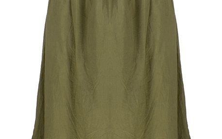 Dlouhé dámské letní šaty nad prsa s krajkové volánky
