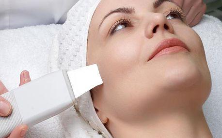 Hloubkové vyčistění pleti ultrazvukovou špachtlí, pomocí ionizéru a vysoce efektivní čistící masky.