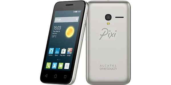 ALCATEL ONETOUCH 4027D Pixi 3 (4.5) (4027D-2DALCZ1) stříbrný + Voucher na skin Skinzone pro Mobil CZ v hodnotě 399 Kč jako dárek+ dárek SIM s kreditem T-mobile 99Kč Twist Online Internet