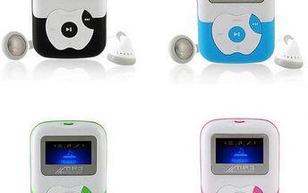 MP3 přehrávač s displejem na SD kartu se sluchátky a USB kabelem