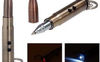 Kuličkové pero ve tvaru náboje s LED svítilnou a laserovým ukazovátkem - skladovka - poštovné zdarma