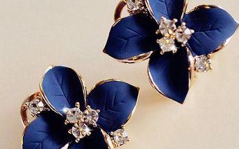 Modré náušnice s kamínky ve tvaru kytičky - skladovka - poštovné zdarma