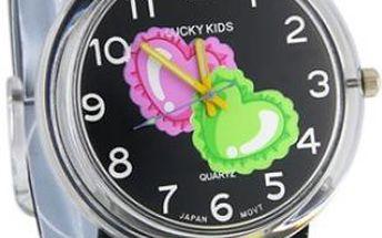 Dívčí hodinky s barevnými srdíčky - 2 barvy