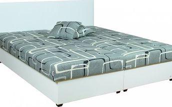 Manželská postel Elis s čalouněným čelem včetně roštu a matrace