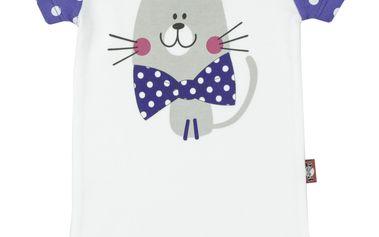 2be3 Dívčí body s kočičkou - modrobíle, 86 cm