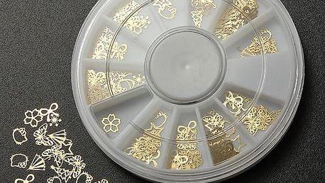 Zlaté dekorace na nehty - 12 různých vzorů v balení - poštovné zdarma