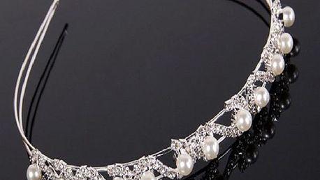 Stříbrná čelenka s perlami