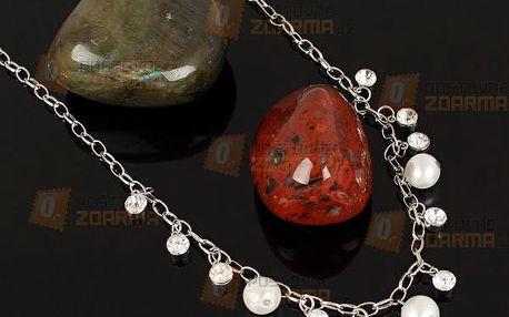 Náhrdelník s kamínky a perličkami - dodání do 2 dnů