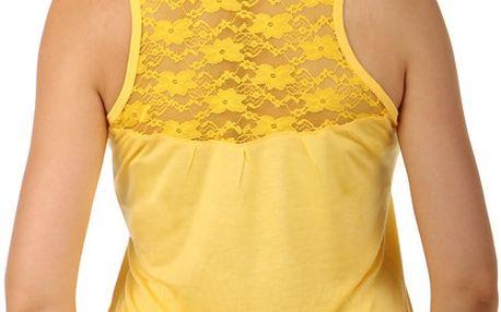 Tílko s krajkou na zádech- i pro plnoštíhlé žlutá