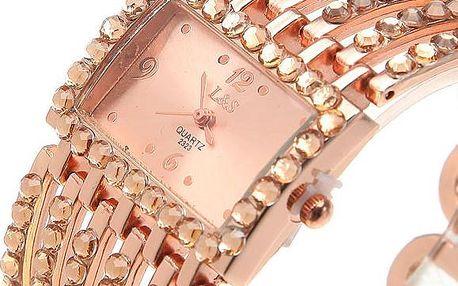 Dámské náramkové hodinky s obdélníkovým ciferníkem - ve 2 barvách