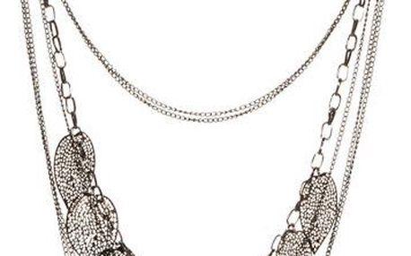 Vícevrstvý náhrdelník zdobený lístečky - ve 2 barvách