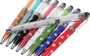 Propiska a stylus 2v1 s ozdobnými krystaly - v 9 barvách