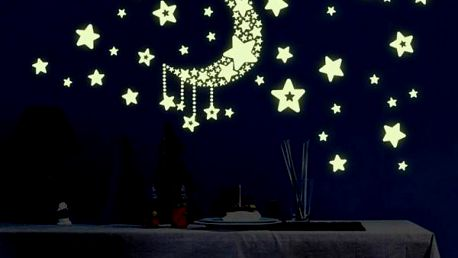 Samolepka na zeď - svítící měsíc s hvězdami - dodání do 2 dnů