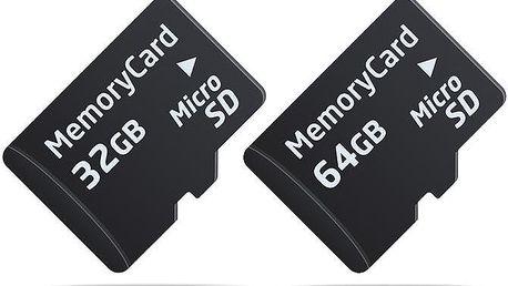 Micro SDHC paměťová karta s kapacitou 32 GB nebo 64 GB + adaptér