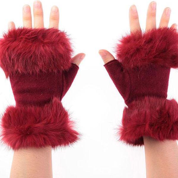 Dámské polo-rukavice s kožíškem - v 3 barvách