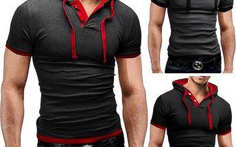 Sportovní pánské triko s kapucí - 3 barvy