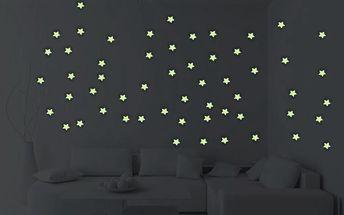 Sada 100 ve tmě svítících samolepek Ambiance MaDéco Stars