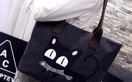 Velká dámská taška s černou kočičkou - dodání do 2 dnů