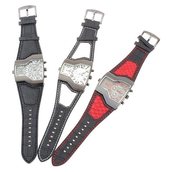 Originální pánské hodinky se dvěma ciferníky