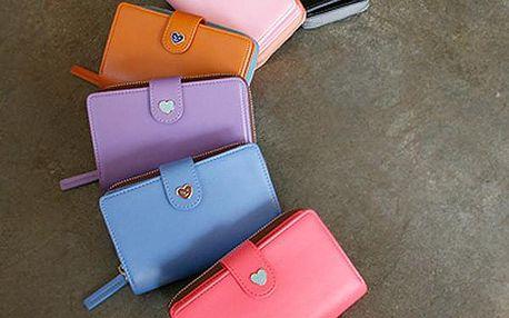 Dámská peněženka na zip s malým srdíčkem - více barev - poštovné zdarma