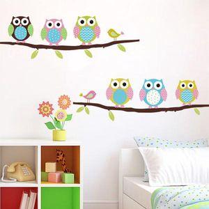 Samolepka na zeď - barevné sovičky - dodání do 2 dnů