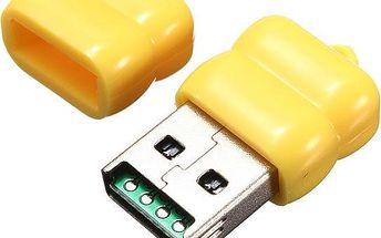 USB čtečka microSD paměťových karet - žlutá