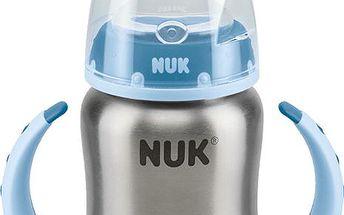 NUK FC Láhev na učení nerezová s držátky 125ml, silikonové pítko nekapající, modrá