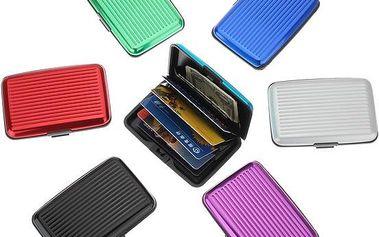 Vodotěsné hliníkové pouzdro na platební karty a vizitky v 6 barvách