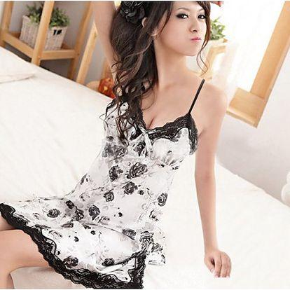 Dámská květovaná košilka - černobílá