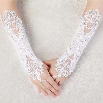 Svatební rukavice bez prstů s výšivkou