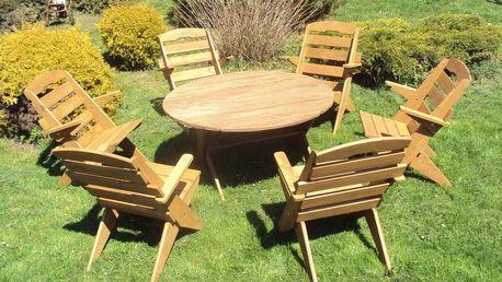 Zahradní set kruhový + 6 židlí - Ořech - lak