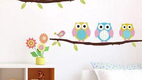 Samolepka na zeď - barevné sovičky - skladovka - poštovné zdarma