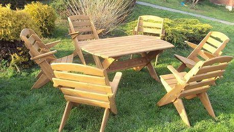 Zahradní set obdélníkový + 6 židlí - Olše - lak