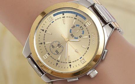 Luxusní hodinky s prvky ve zlaté barvě - 2 barvy